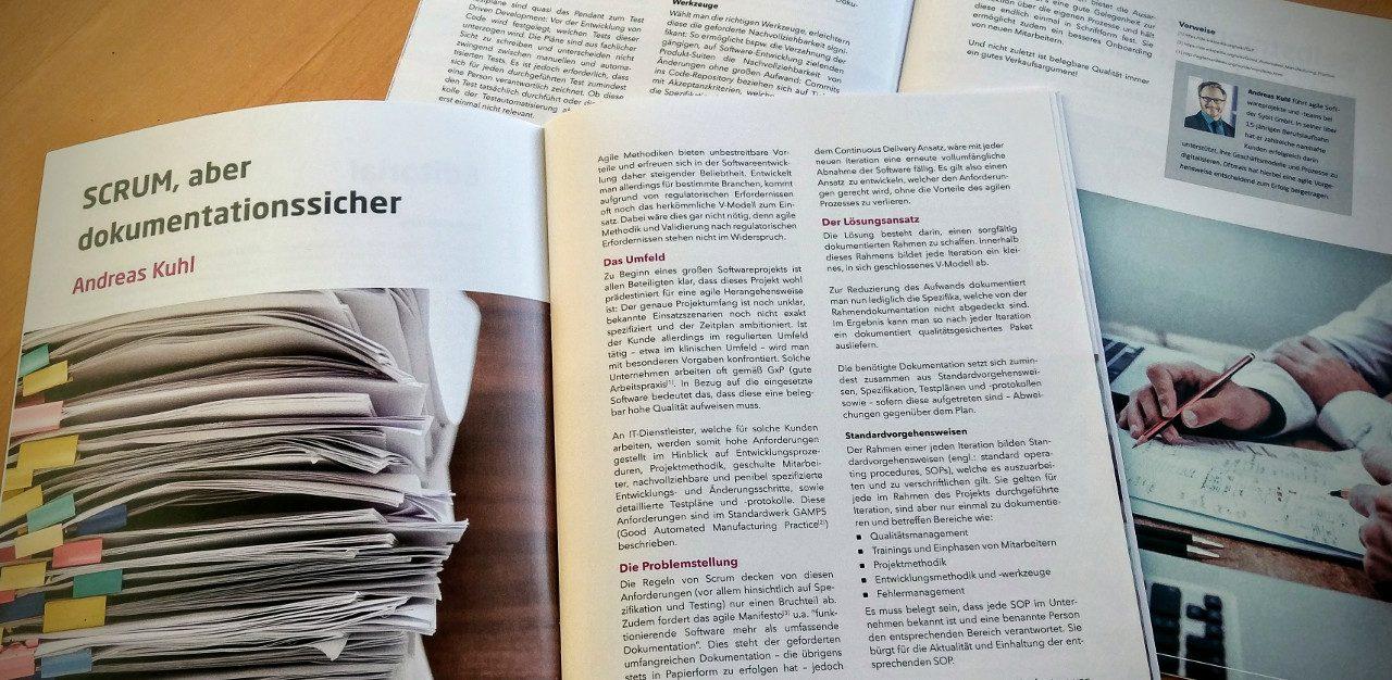 """Fachartikel """"SCRUM, aber dokumentationssicher"""" im Sybit Agile Magazin"""